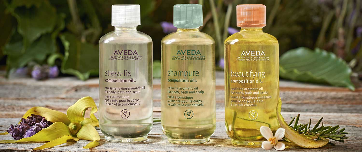 Aveda Stress Fix, Shampure, and Beautifying Oil